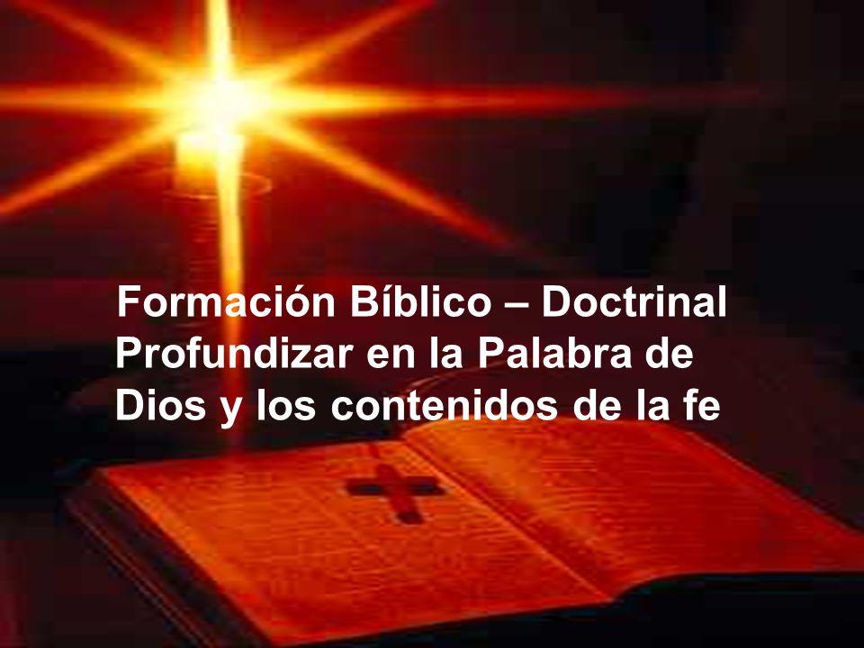 Formación Bíblico – Doctrinal Profundizar en la Palabra de Dios y los contenidos de la fe