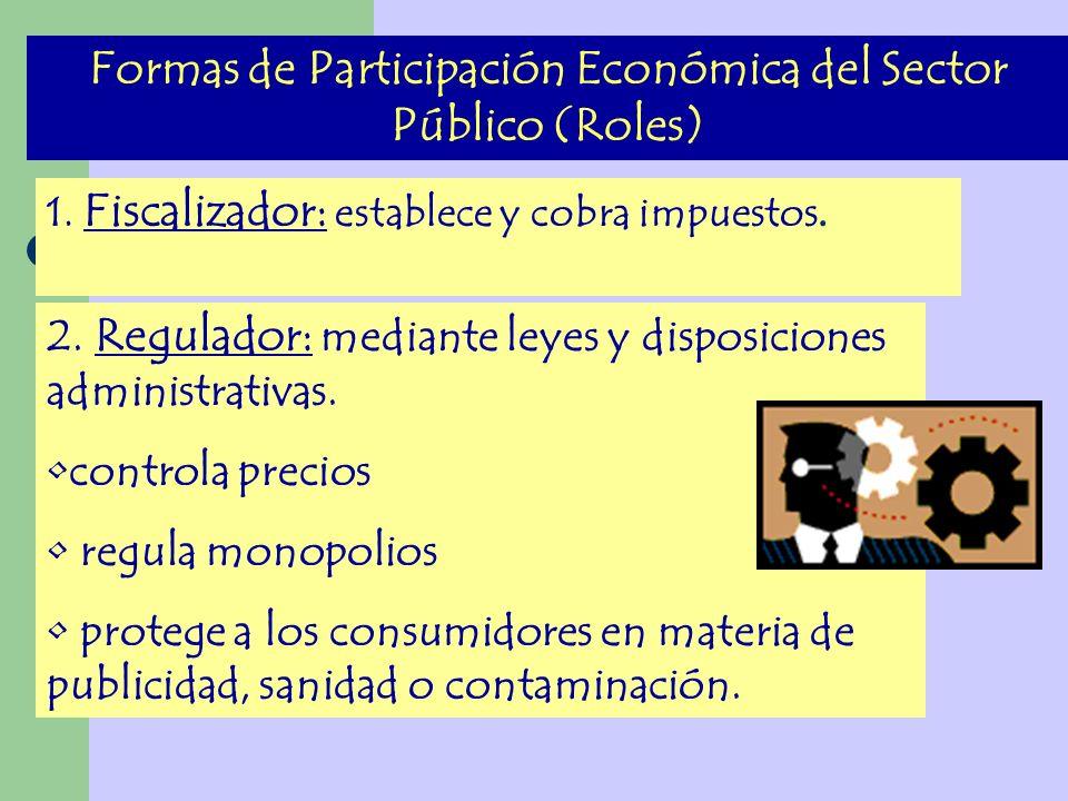Formas de Participación Económica del Sector Público (Roles) 1. Fiscalizador: establece y cobra impuestos. 2. Regulador: mediante leyes y disposicione