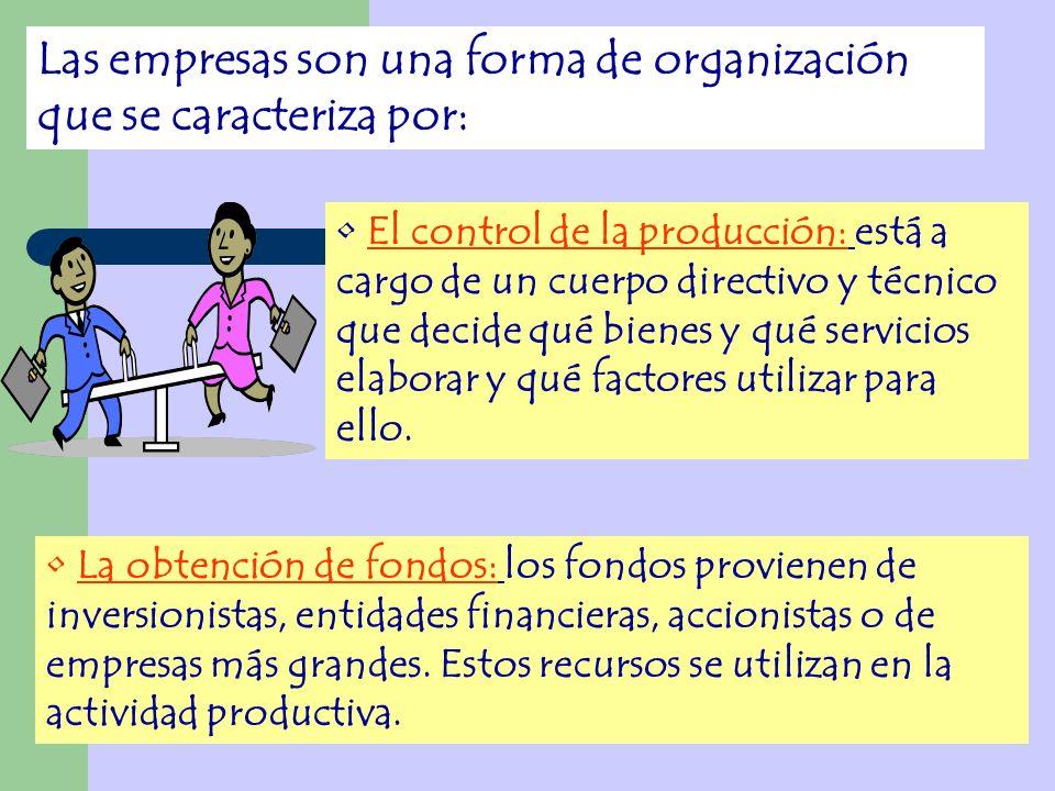 Las empresas son una forma de organización que se caracteriza por: El control de la producción: está a cargo de un cuerpo directivo y técnico que deci