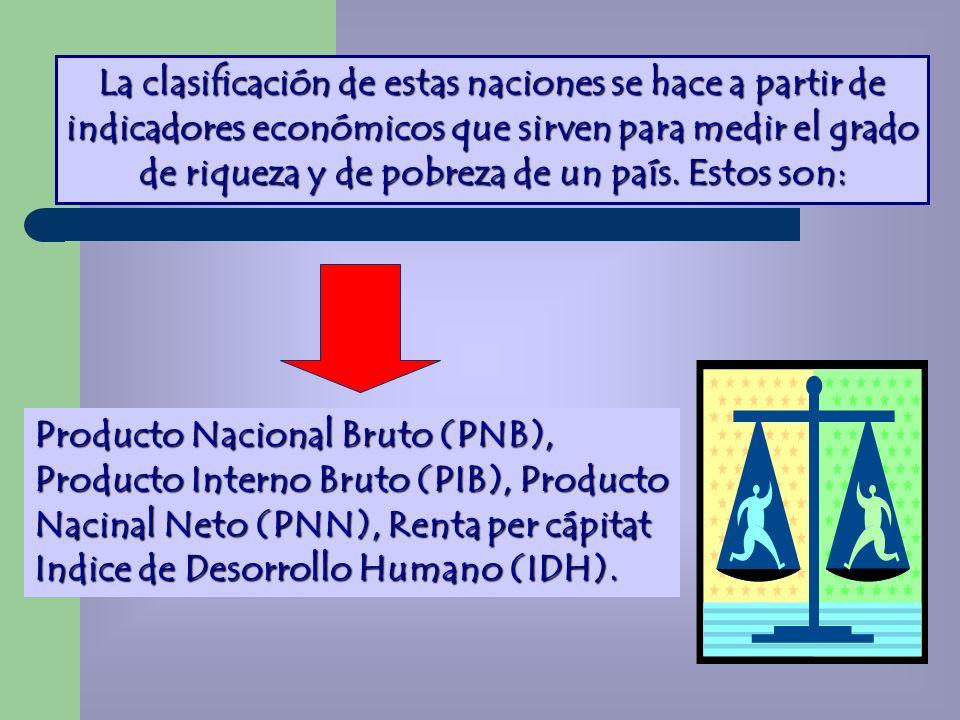 La clasificación de estas naciones se hace a partir de indicadores económicos que sirven para medir el grado de riqueza y de pobreza de un país. Estos