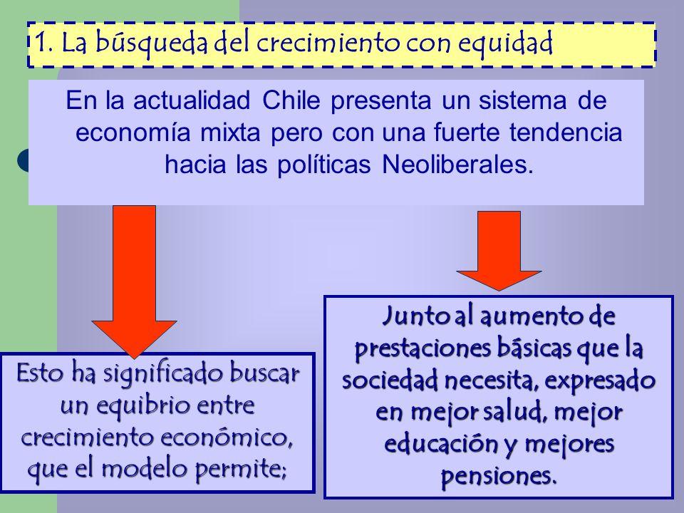 En la actualidad Chile presenta un sistema de economía mixta pero con una fuerte tendencia hacia las políticas Neoliberales. Esto ha significado busca