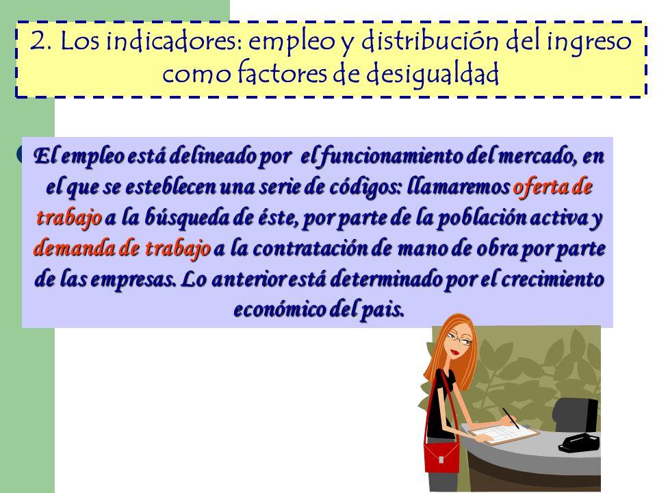 2. Los indicadores: empleo y distribución del ingreso como factores de desigualdad El empleo está delineado por el funcionamiento del mercado, en el q