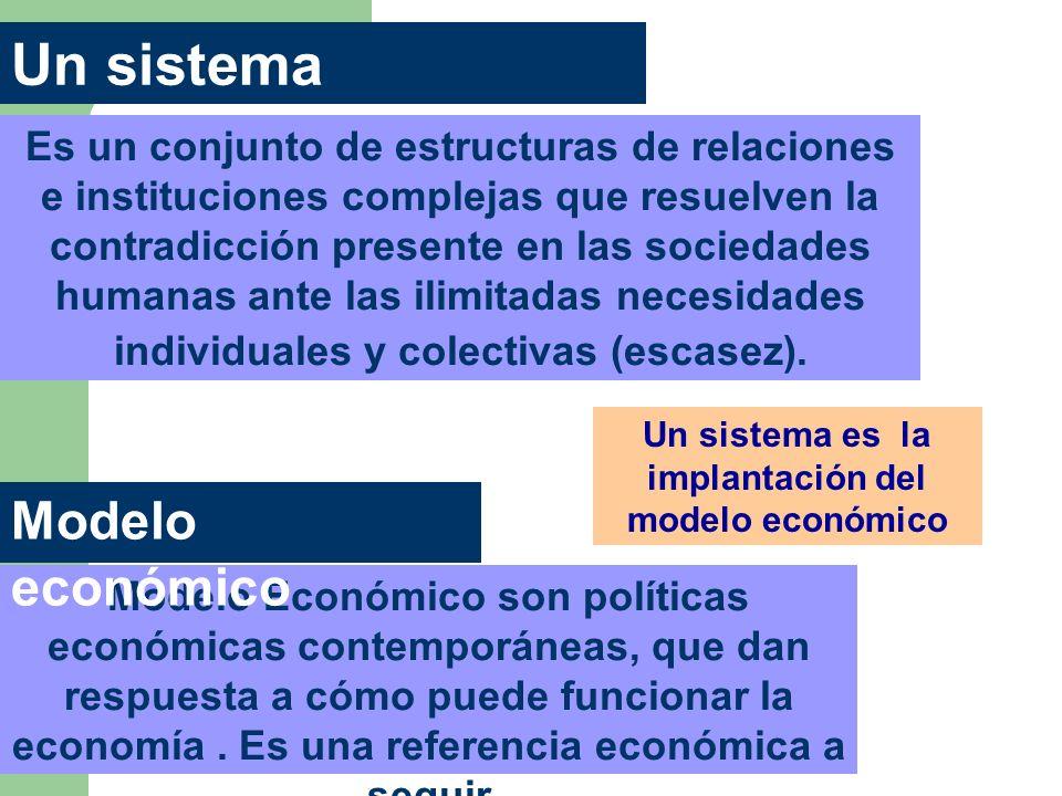 Un sistema económico Es un conjunto de estructuras de relaciones e instituciones complejas que resuelven la contradicción presente en las sociedades h