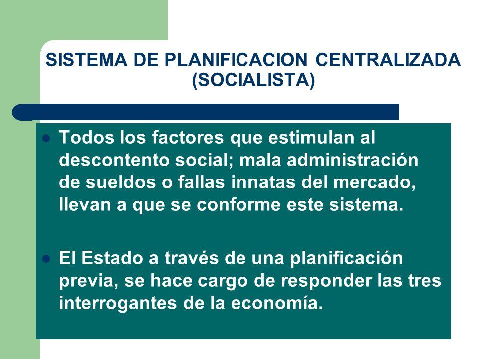SISTEMA DE PLANIFICACION CENTRALIZADA (SOCIALISTA) Todos los factores que estimulan al descontento social; mala administración de sueldos o fallas inn