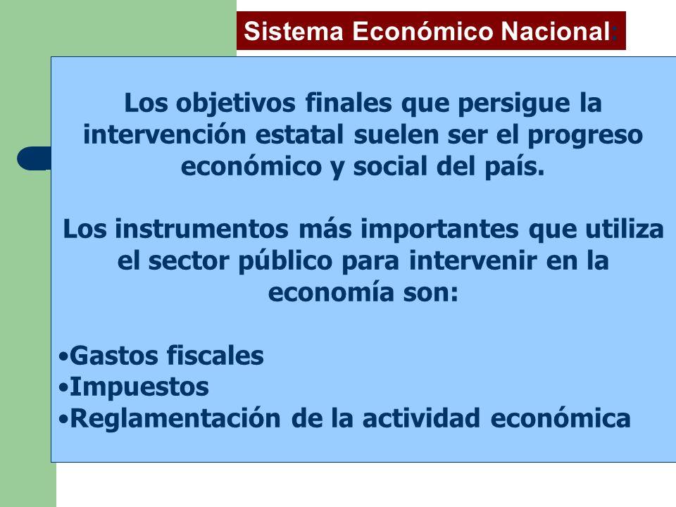 Los objetivos finales que persigue la intervención estatal suelen ser el progreso económico y social del país. Los instrumentos más importantes que ut