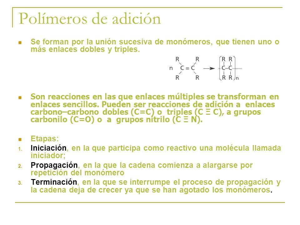 Polímeros de adición Se forman por la unión sucesiva de monómeros, que tienen uno o más enlaces dobles y triples. Son reacciones en las que enlaces mú