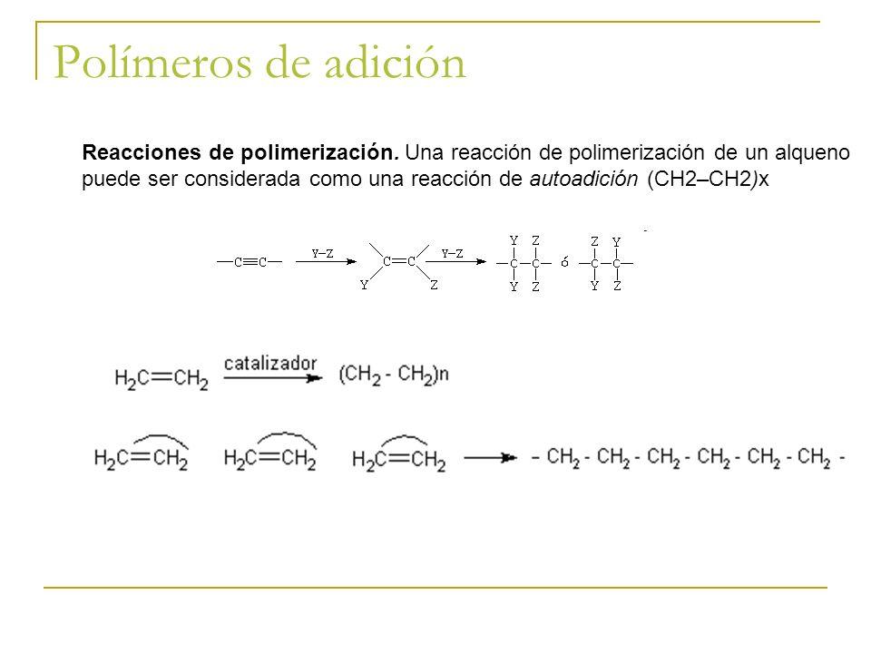 Polímeros de adición Reacciones de polimerización. Una reacción de polimerización de un alqueno puede ser considerada como una reacción de autoadición