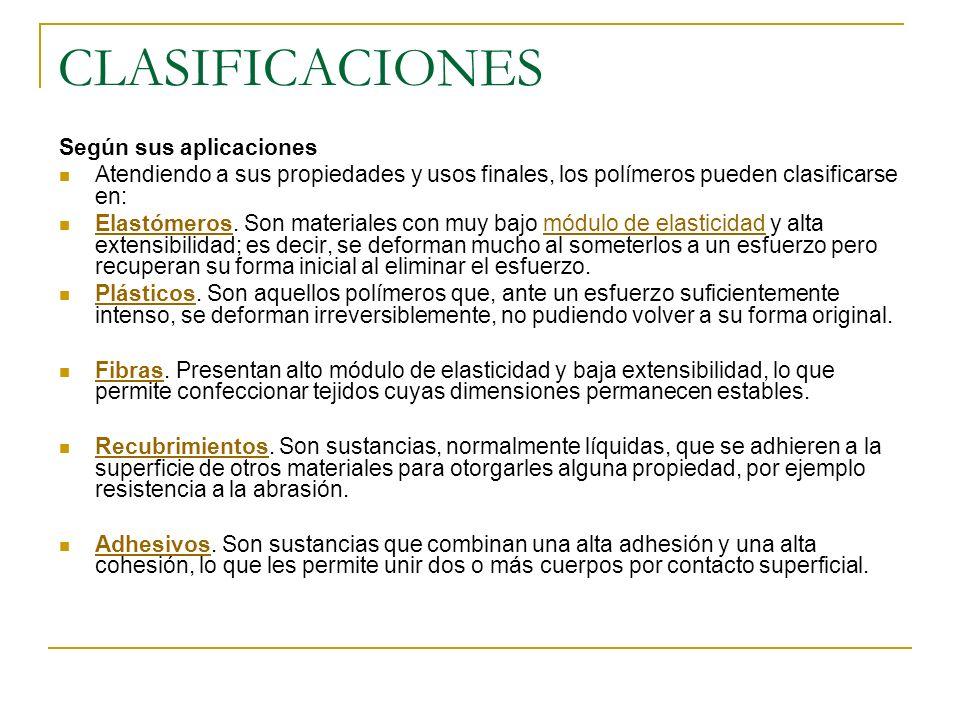 CLASIFICACIONES Según sus aplicaciones Atendiendo a sus propiedades y usos finales, los polímeros pueden clasificarse en: Elastómeros. Son materiales