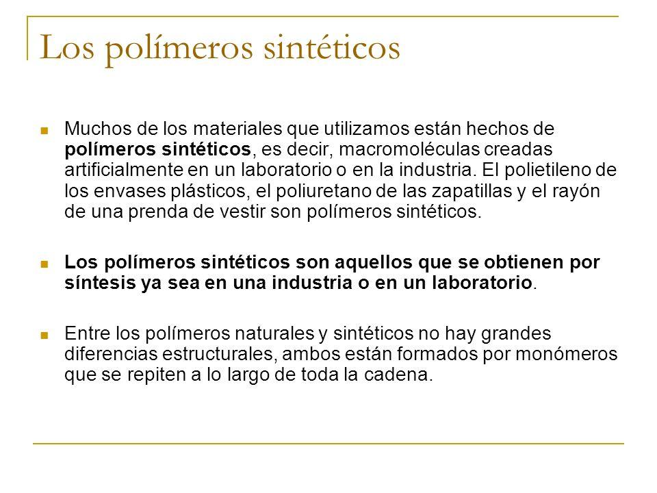 Los polímeros sintéticos Muchos de los materiales que utilizamos están hechos de polímeros sintéticos, es decir, macromoléculas creadas artificialment