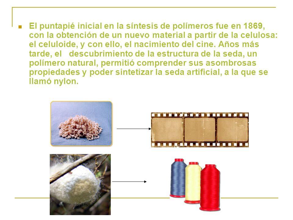 El puntapié inicial en la síntesis de polímeros fue en 1869, con la obtención de un nuevo material a partir de la celulosa: el celuloide, y con ello,
