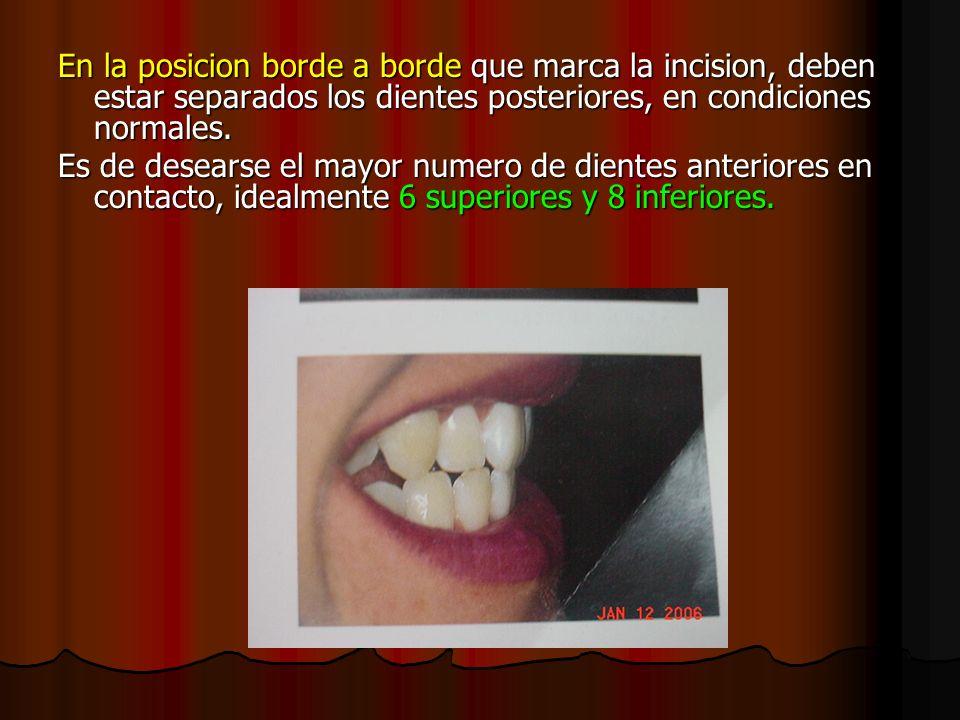 En la posicion borde a borde que marca la incision, deben estar separados los dientes posteriores, en condiciones normales. Es de desearse el mayor nu