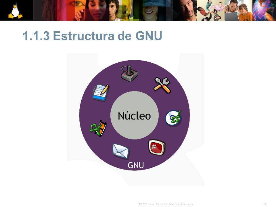 10© 2007 Linux. Todos los derechos reservados. 1.1.3 Estructura de GNU