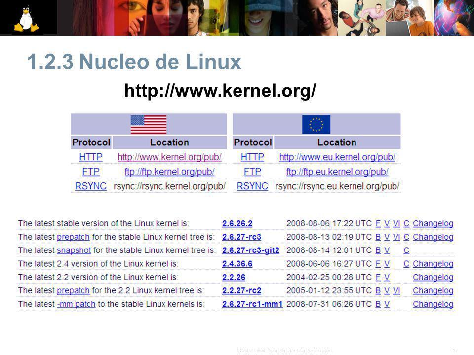 17© 2007 Linux. Todos los derechos reservados. 1.2.3 Nucleo de Linux http://www.kernel.org/