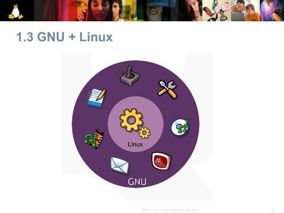 20© 2007 Linux. Todos los derechos reservados. 1.3 GNU + Linux