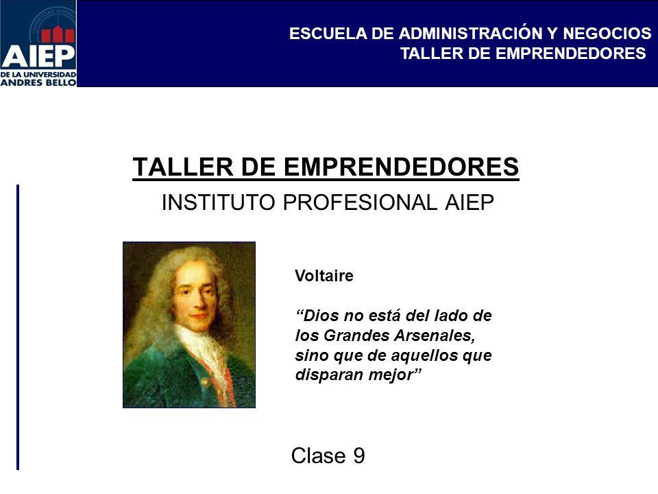 ESCUELA DE ADMINISTRACIÓN Y NEGOCIOS TALLER DE EMPRENDEDORES INSTITUTO PROFESIONAL AIEP Clase 9 Voltaire Dios no está del lado de los Grandes Arsenale