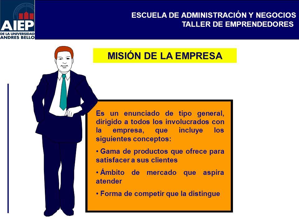 ESCUELA DE ADMINISTRACIÓN Y NEGOCIOS TALLER DE EMPRENDEDORES Misión es la declaración general relativa al direccionamiento que se pretende dar a un negocio o empresa.