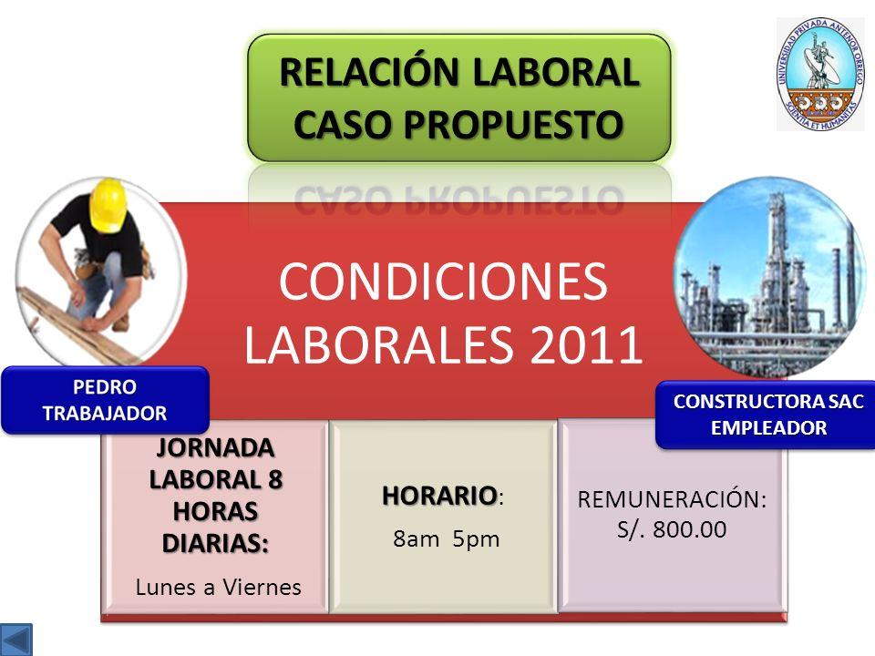 CONDICIONES LABORALES 2011 JORNADA LABORAL 8 HORAS DIARIAS: Lunes a Viernes HORARIO HORARIO : 8am 5pm REMUNERACIÓN: S/.
