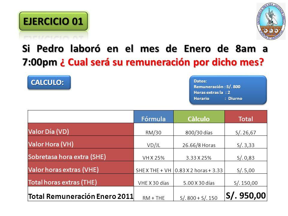 Si Pedro laboró en el mes de Enero de 8am a 7:00pm ¿ Cual será su remuneración por dicho mes.