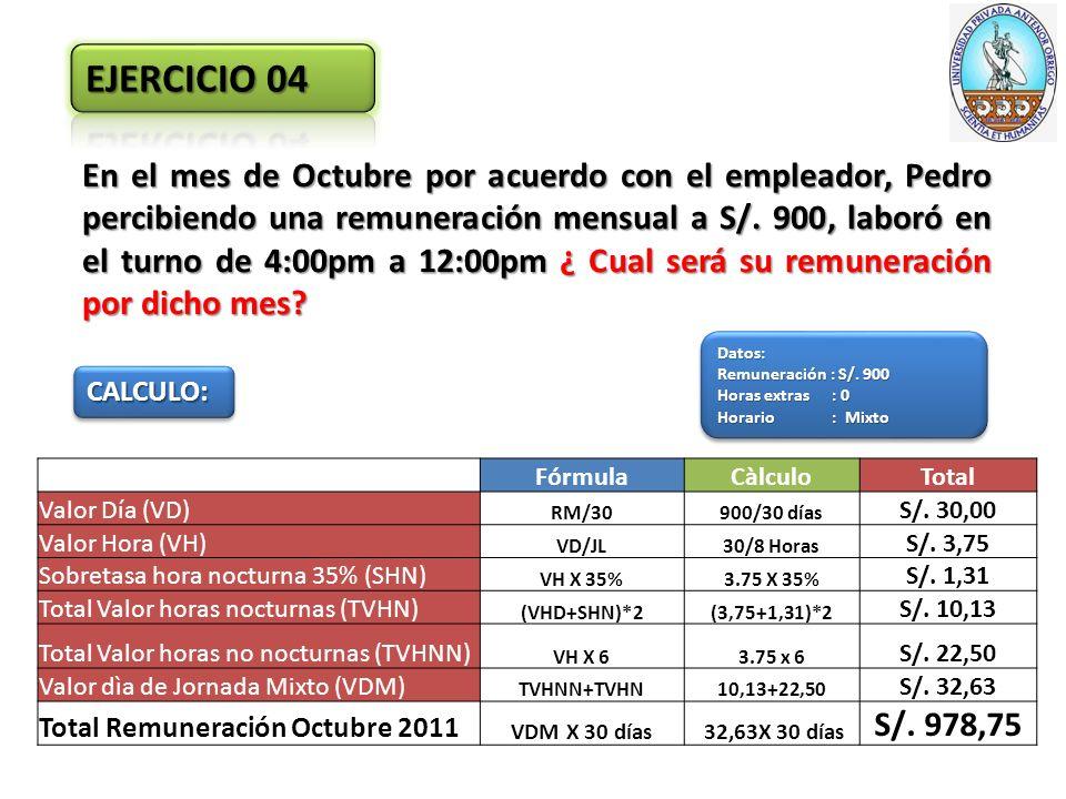 En el mes de Octubre por acuerdo con el empleador, Pedro percibiendo una remuneración mensual a S/.