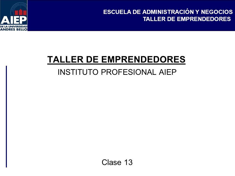 ESCUELA DE ADMINISTRACIÓN Y NEGOCIOS TALLER DE EMPRENDEDORES INSTITUTO PROFESIONAL AIEP Clase 13