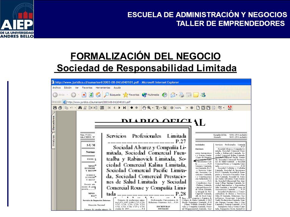 ESCUELA DE ADMINISTRACIÓN Y NEGOCIOS TALLER DE EMPRENDEDORES FORMALIZACIÓN DEL NEGOCIO Sociedad de Responsabilidad Limitada