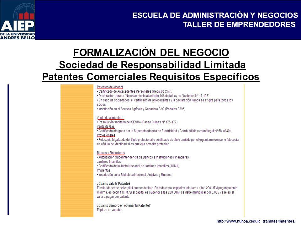 ESCUELA DE ADMINISTRACIÓN Y NEGOCIOS TALLER DE EMPRENDEDORES FORMALIZACIÓN DEL NEGOCIO Sociedad de Responsabilidad Limitada Patentes Comerciales Requisitos Específicos http://www.nunoa.cl/guia_tramites/patentes/