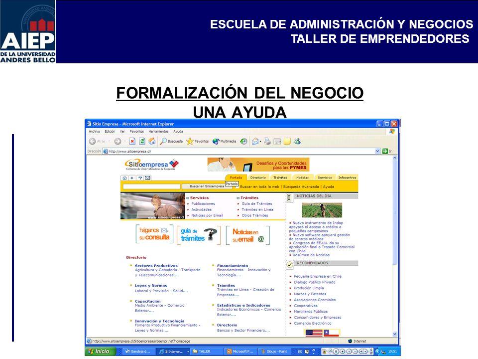 ESCUELA DE ADMINISTRACIÓN Y NEGOCIOS TALLER DE EMPRENDEDORES FORMALIZACIÓN DEL NEGOCIO UNA AYUDA