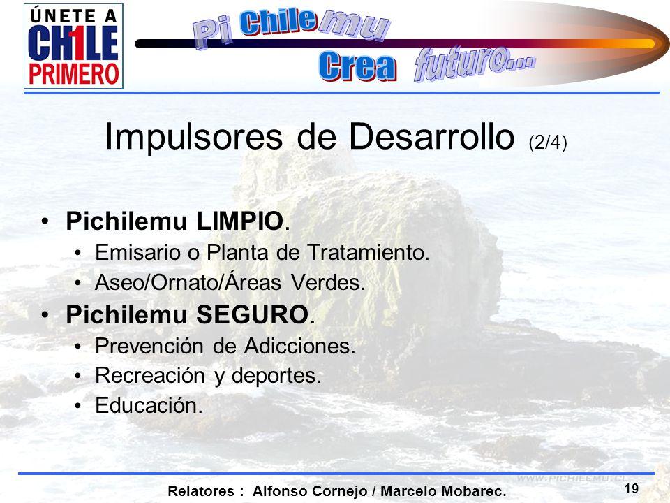 19 Relatores : Alfonso Cornejo / Marcelo Mobarec. Impulsores de Desarrollo (2/4) Pichilemu LIMPIO.