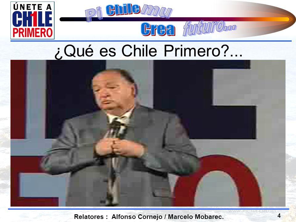 5 Relatores : Alfonso Cornejo / Marcelo Mobarec. ¿Qué es Chile Primero?... Volver