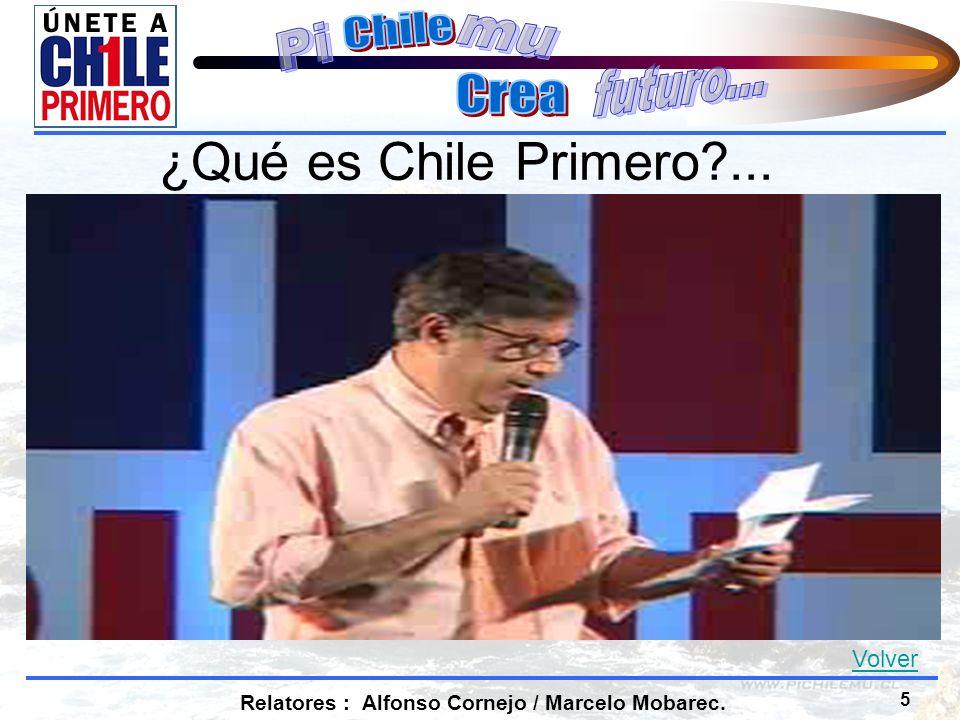 5 Relatores : Alfonso Cornejo / Marcelo Mobarec. ¿Qué es Chile Primero ... Volver