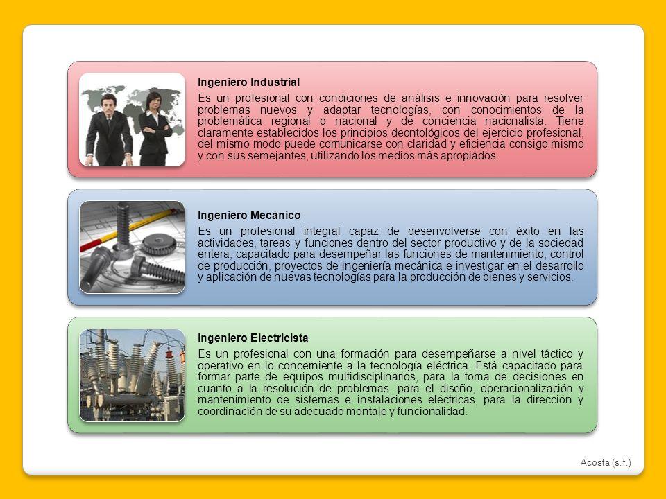 Ingeniero Industrial Es un profesional con condiciones de análisis e innovación para resolver problemas nuevos y adaptar tecnologías, con conocimiento