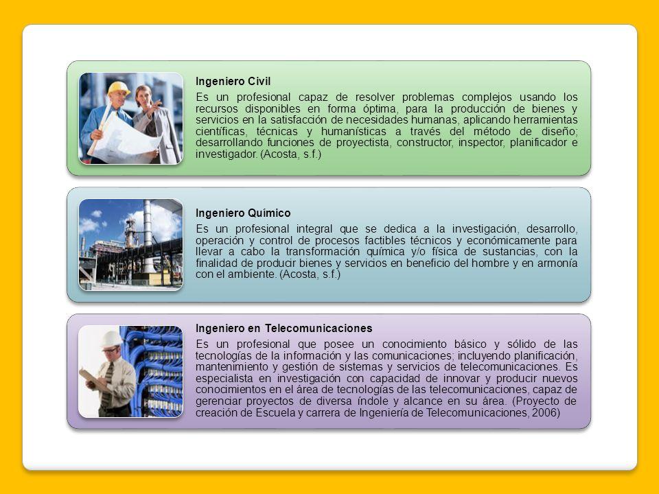 Ingeniero Civil Es un profesional capaz de resolver problemas complejos usando los recursos disponibles en forma óptima, para la producción de bienes