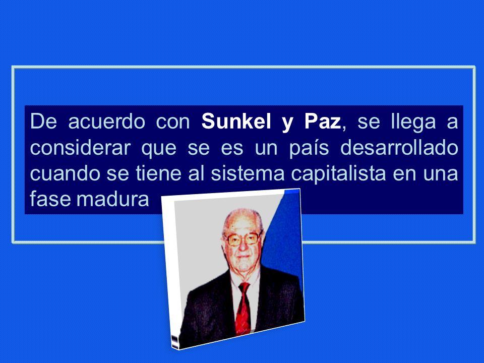De acuerdo con Sunkel y Paz, se llega a considerar que se es un país desarrollado cuando se tiene al sistema capitalista en una fase madura