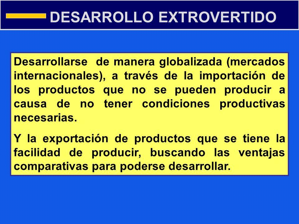 DESARROLLO EXTROVERTIDO Desarrollarse de manera globalizada (mercados internacionales), a través de la importación de los productos que no se pueden p