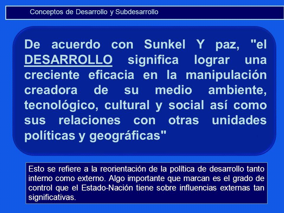Conceptos de Desarrollo y Subdesarrollo De acuerdo con Sunkel Y paz,