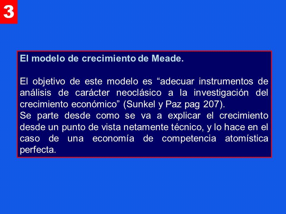 3 El modelo de crecimiento de Meade. El objetivo de este modelo es adecuar instrumentos de análisis de carácter neoclásico a la investigación del crec