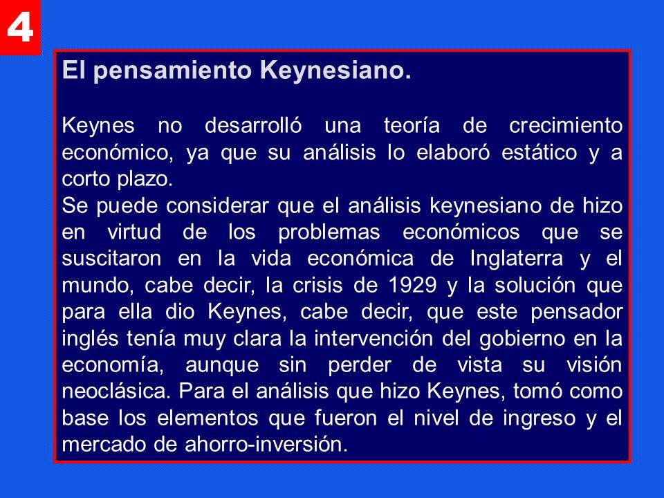 4 El pensamiento Keynesiano. Keynes no desarrolló una teoría de crecimiento económico, ya que su análisis lo elaboró estático y a corto plazo. Se pued
