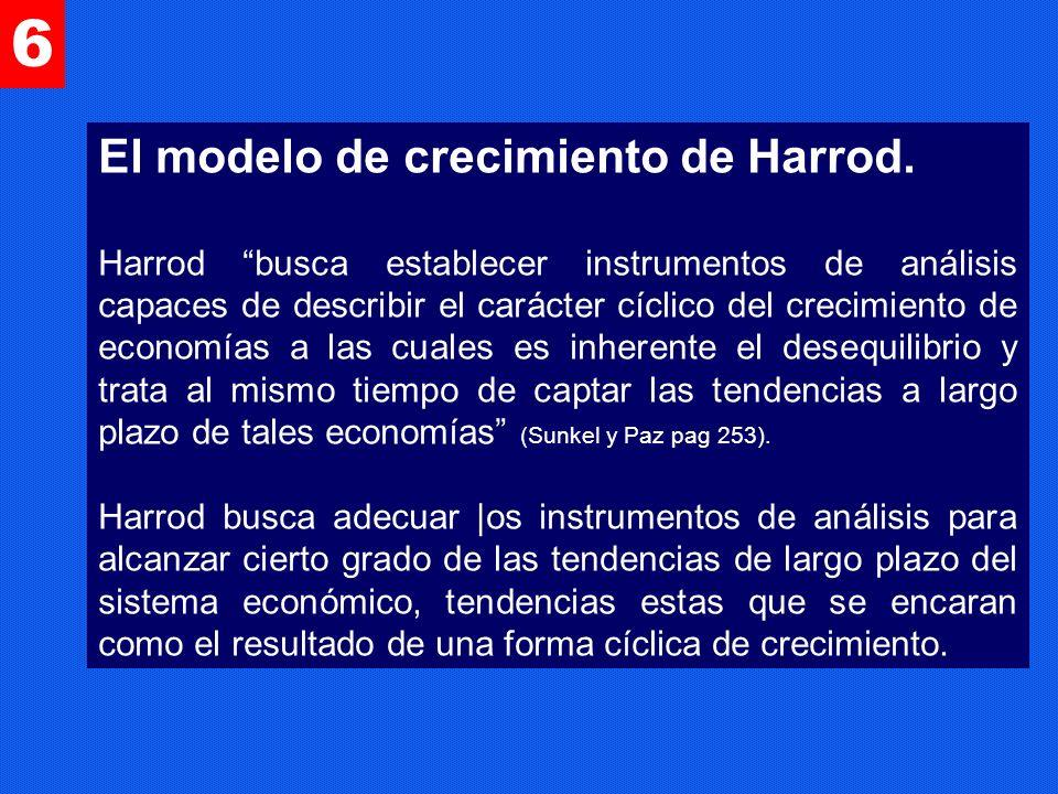 El modelo de crecimiento de Harrod. Harrod busca establecer instrumentos de análisis capaces de describir el carácter cíclico del crecimiento de econo