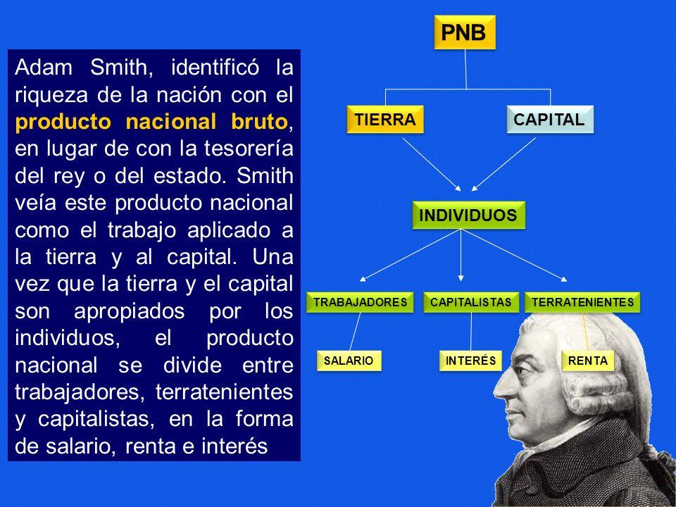 Adam Smith, identificó la riqueza de la nación con el producto nacional bruto, en lugar de con la tesorería del rey o del estado. Smith veía este prod