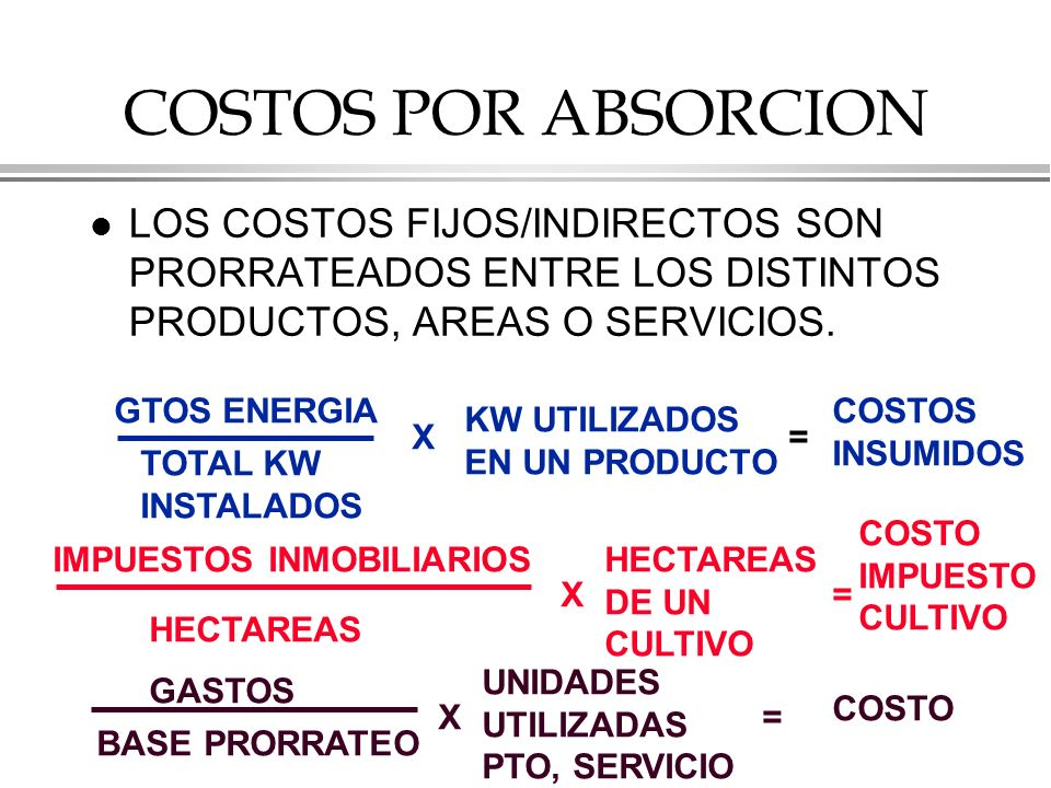 COSTOS POR ABSORCION l LOS COSTOS FIJOS/INDIRECTOS SON PRORRATEADOS ENTRE LOS DISTINTOS PRODUCTOS, AREAS O SERVICIOS.