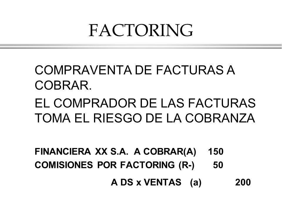 FACTORING COMPRAVENTA DE FACTURAS A COBRAR.