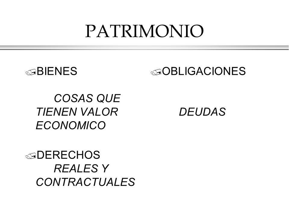 PATRIMONIO / BIENES COSAS QUE TIENEN VALOR ECONOMICO / DERECHOS REALES Y CONTRACTUALES / OBLIGACIONES DEUDAS
