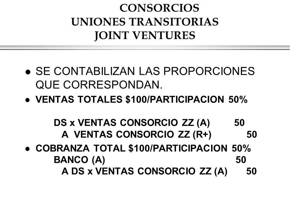 CONSORCIOS UNIONES TRANSITORIAS JOINT VENTURES l SE CONTABILIZAN LAS PROPORCIONES QUE CORRESPONDAN.