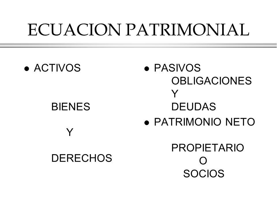 ECUACION PATRIMONIAL l ACTIVOS BIENES Y DERECHOS l PASIVOS OBLIGACIONES Y DEUDAS l PATRIMONIO NETO PROPIETARIO O SOCIOS