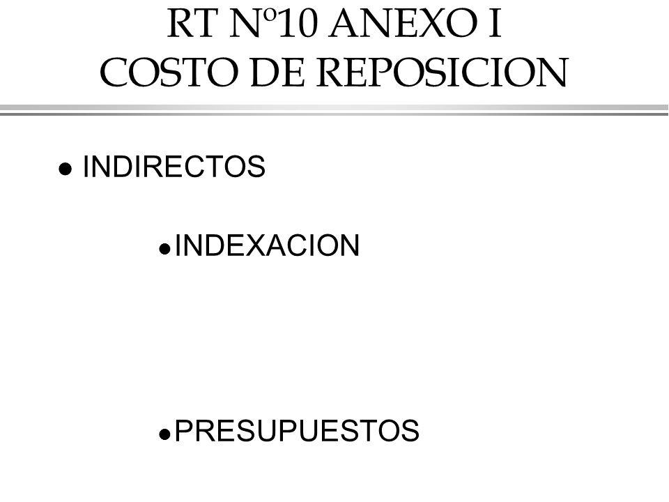 RT Nº10 ANEXO I COSTO DE REPOSICION l INDIRECTOS l INDEXACION l PRESUPUESTOS