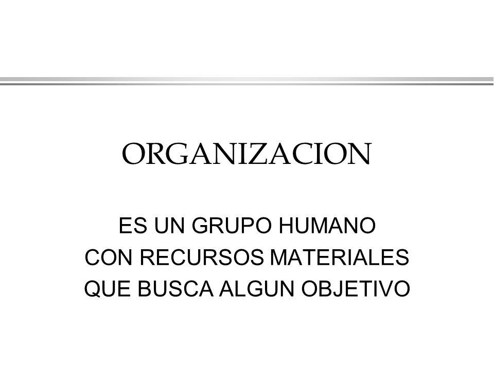 ORGANIZACION ES UN GRUPO HUMANO CON RECURSOS MATERIALES QUE BUSCA ALGUN OBJETIVO