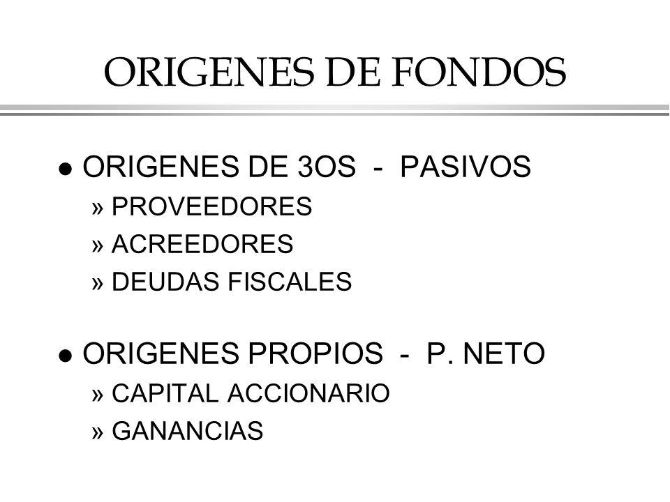 ORIGENES DE FONDOS l ORIGENES DE 3OS - PASIVOS »PROVEEDORES »ACREEDORES »DEUDAS FISCALES l ORIGENES PROPIOS - P.