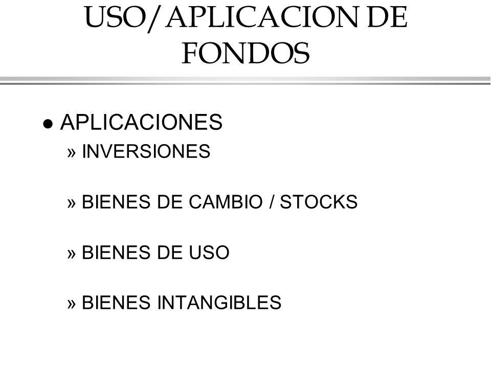 USO/APLICACION DE FONDOS l APLICACIONES »INVERSIONES »BIENES DE CAMBIO / STOCKS »BIENES DE USO »BIENES INTANGIBLES