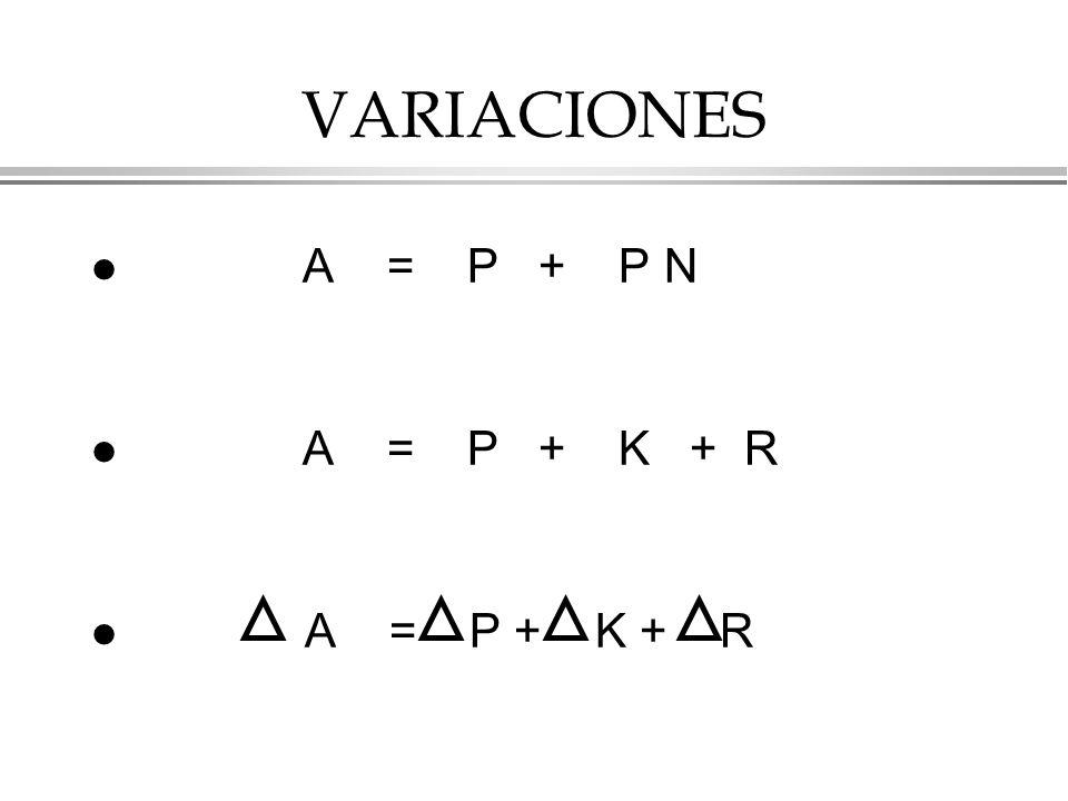 VARIACIONES l A = P + P N l A = P + K + R