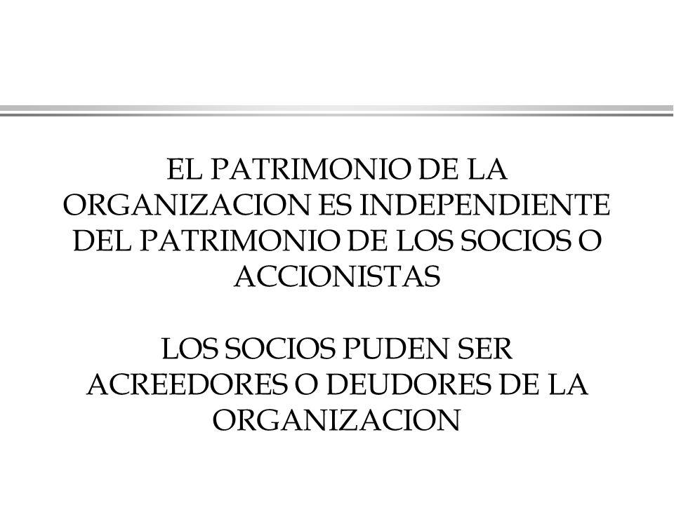 EL PATRIMONIO DE LA ORGANIZACION ES INDEPENDIENTE DEL PATRIMONIO DE LOS SOCIOS O ACCIONISTAS LOS SOCIOS PUDEN SER ACREEDORES O DEUDORES DE LA ORGANIZACION
